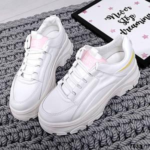 Женские кроссовки белые на толстой подошве 1433 37