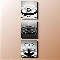 Необычная модульная сборная картина на полотне Вода. Капли. Черно белое, 139х40 см