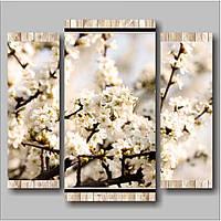 Необычная модульная сборная картина на полотне Ветка. Белые цветы, 79х70 см