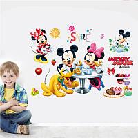 """Интерьерная наклейка в детскую"""" Микки Майус и друзья Минни"""", размер 35*52 см."""