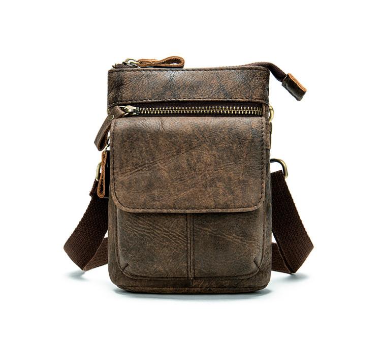 Кожаная мини-сумочка на плечо Marrant   коричневая