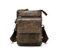 Кожаная мини-сумочка на плечо Marrant   коричневая, фото 1
