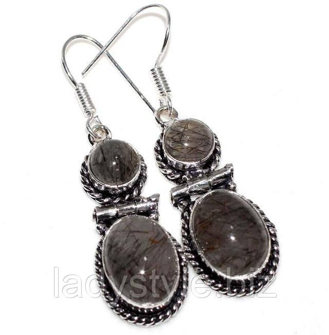 серебряные серьги с натуральным рутиловым кварцем волосатиком
