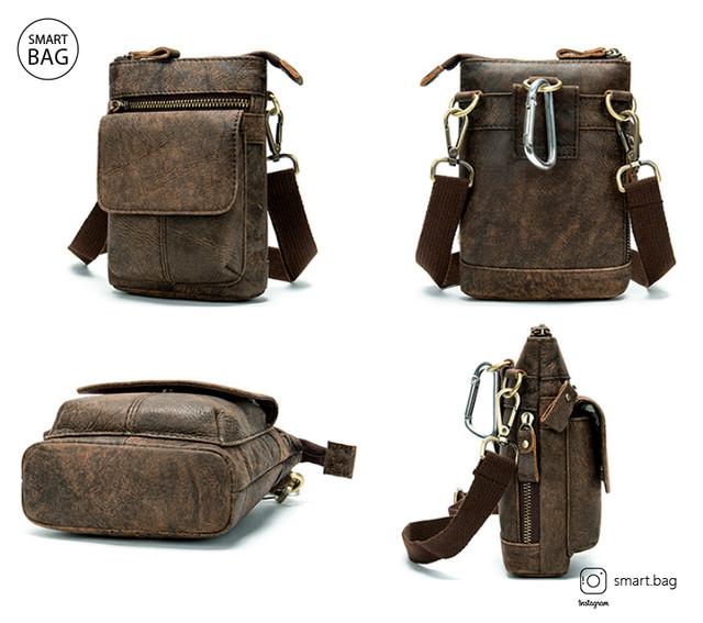 Кожаная коричневая мини-сумочка на плечо Marrant