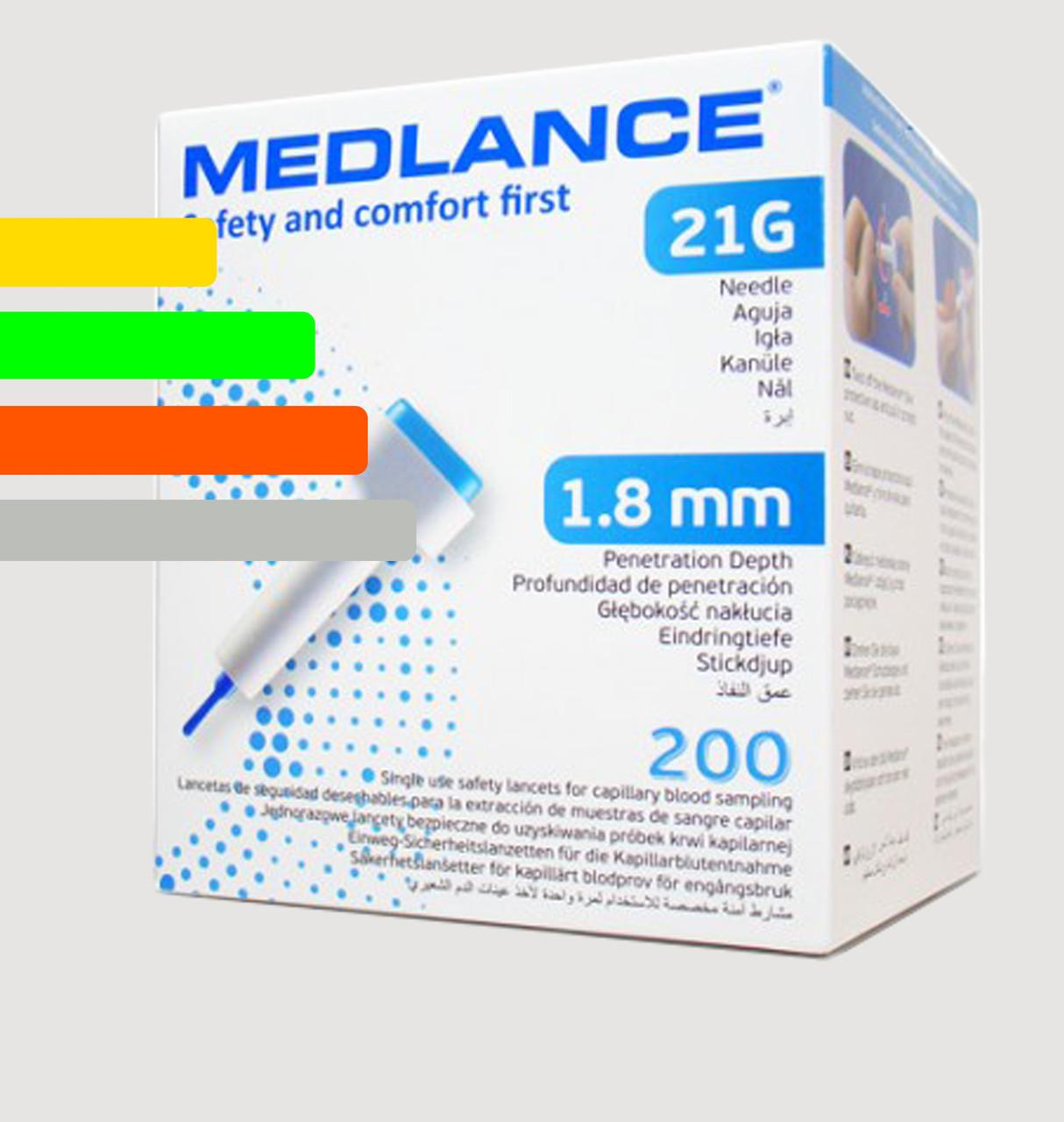 Ланцеты MEDLANCE с кнопкой, игла 21G, глубина  проникновения 1,8 мм