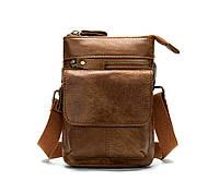 Кожаная мини-сумочка на плечо Marrant   светло-коричневая