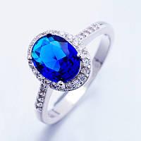 Кольцо, покрытие платиной, синий и белые фианиты, 17р, фото 1