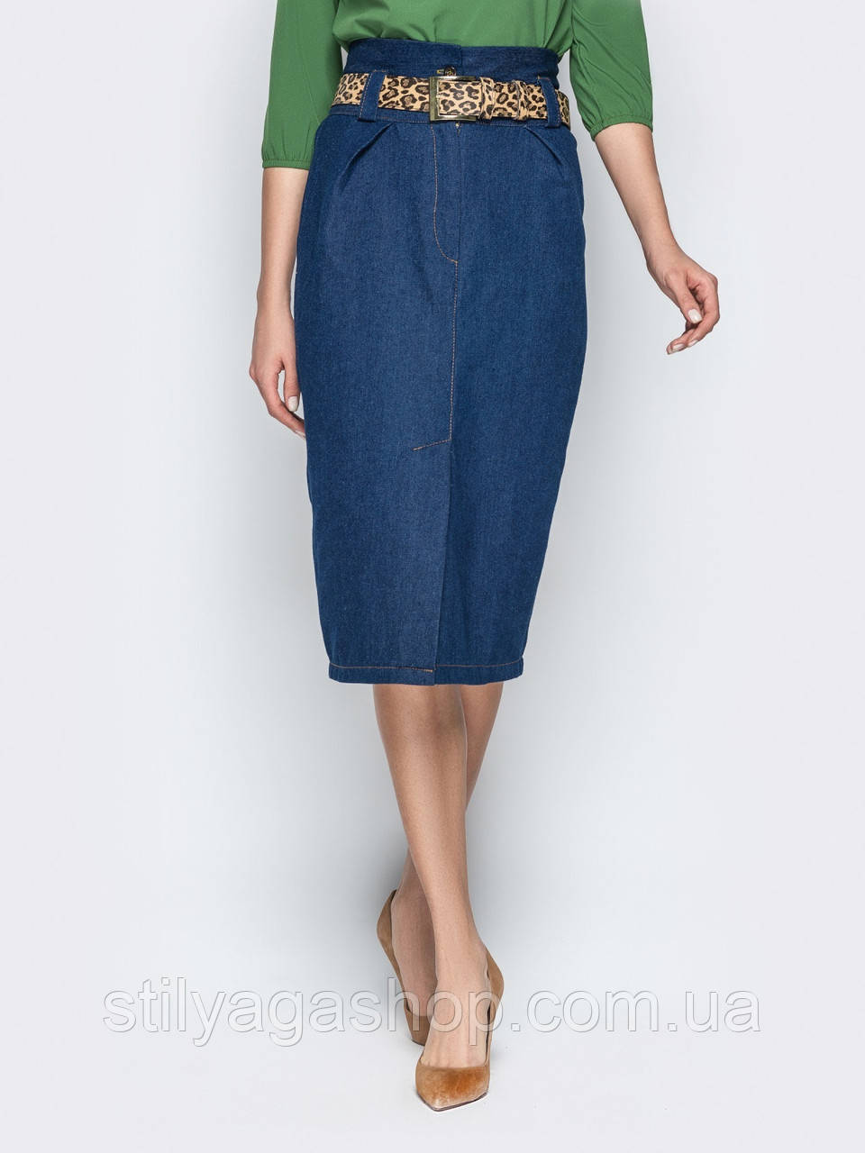 Джинсовая юбка-карандаш с завышенной талией и съемным поясом в комплекте синий