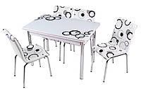 """Раскладной стол обеденный кухонный комплект стол и стулья 3D 3д """"Круги черные"""" стекло 70*110 Лотос-М Mobilgen, фото 1"""