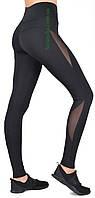 Cпортивные женские лосины черный элластан с сеткой