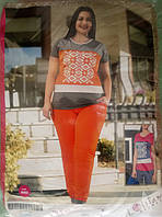 "Женский костюм Lolitam (5883) с лосинами для дома и отдыха (батал) ""Орнамент"". Р-р 56."