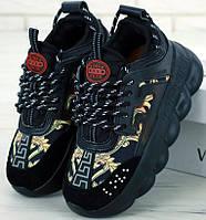Женские кроссовки Versace Chain Reaction Sneakers - Black Gold Print 36-41р. Живое фото (Реплика ААА+)