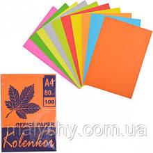 Бумага цветная для ксерокса А4 5+ 5 цв, НЕОН+ насыщенная 100 листов 80 г/м² / папір ксероксний