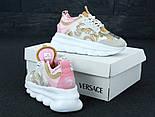 Женские кроссовки Versace Chain Reaction (Pink/White) 36-41рр. Живое фото (Реплика ААА+), фото 5