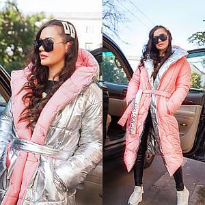 Двустороннее объемное пальто-одеяло oversize 42-46 р