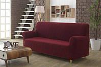 Стильный универсальный чехол на диван жакардовый без юбки бордовый 108 цветов