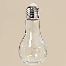 Світлодіодна лампа нічник Колба прозоре скло h19d9см 3436600