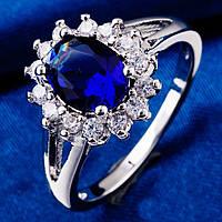 Кольцо Цветок, покрытие платиной, синий и белые фианиты, 17 р