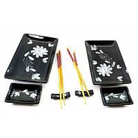 Набор посуды для суши из керамики черный с цветами