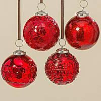 Набор новогодних шаров из 4х шт красное стекло d8см 1006380