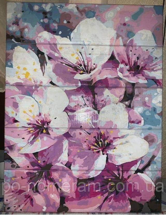 Картина по номерам по дереву цветение яблони