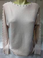 Свитер с бусинами кашемировый женский полубатальный (ПОШТУЧНО), фото 1