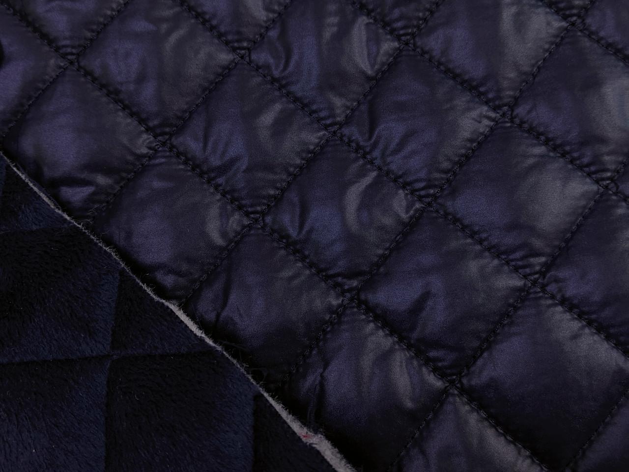 Плащевка с мехом квадраты 35 мм, темно-синий