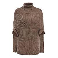 Женский вязанный свитер-пончо коричневого цвета, фото 1
