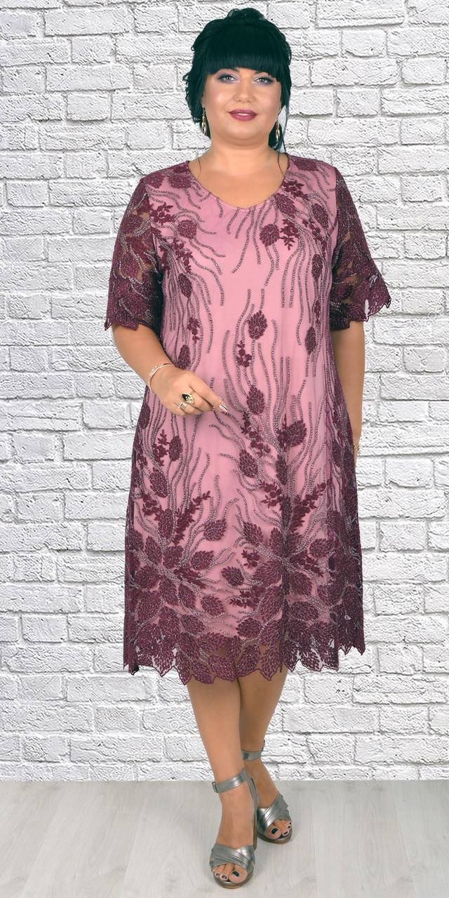 Женское экстравагантное платье свободного кроя больших размеров ( 52-58 р-ры )