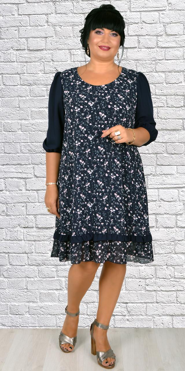 Женское шифоновое платье трапеция ( 50-56 р-ры )