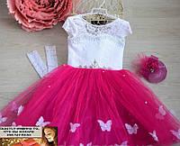 Бальное пышное платье на утренник и праздник бабочки на  4, 5, 6, 7, 8 лет малина