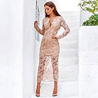 Женское гипюровое платье розовое