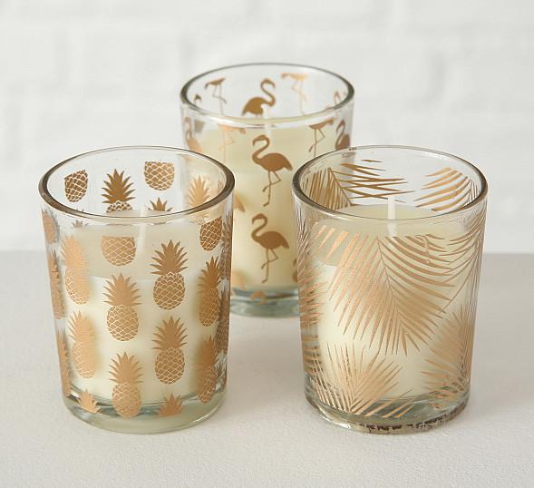 Набор подсвечников 3х h6 d5см золотое стекло 1009920 подсвечники комплект подсвечник стакан