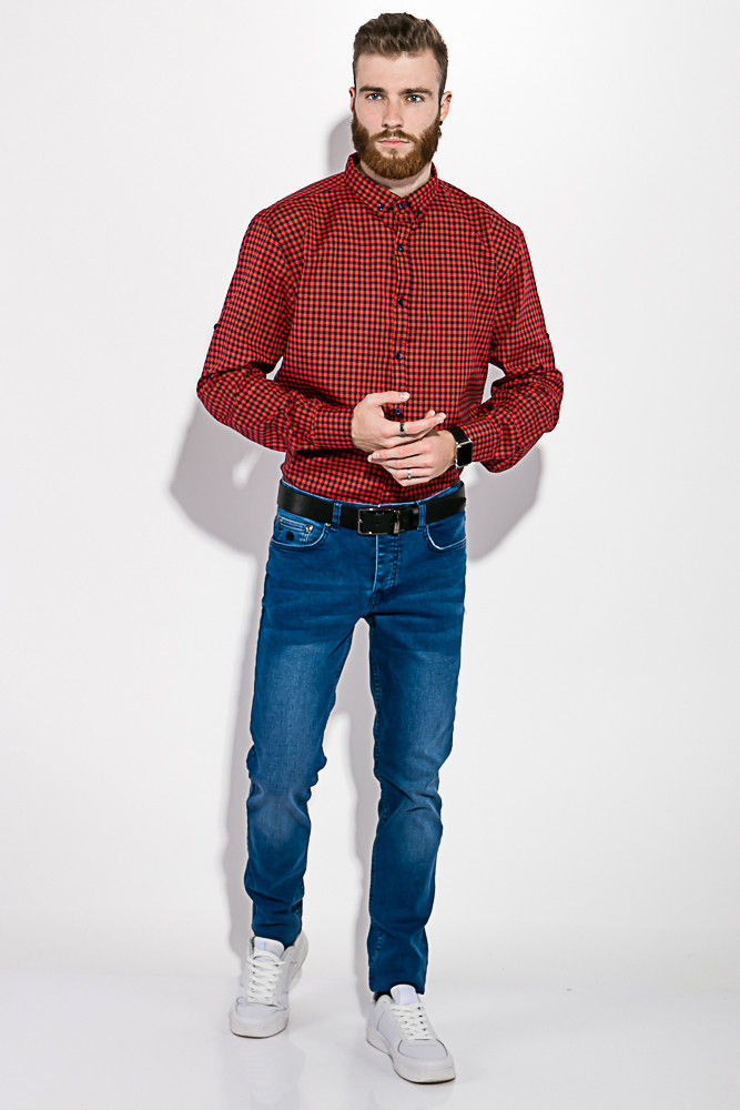 Рубашка мужская в клетку  511F007 (Красно-синий)