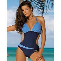 Красивый женский купальник монокини синий+голубой
