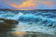 Картина холст, масло 40*60 см Бирюзовая волна