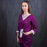 Медицинский костюм женский фиолетовый с серыми вставками