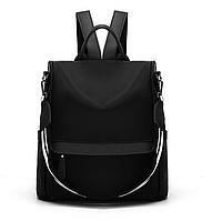 Сумка женская черная рюкзак антивор тканевая городской молодежный Сity Style антикража непромокаемая Код1719