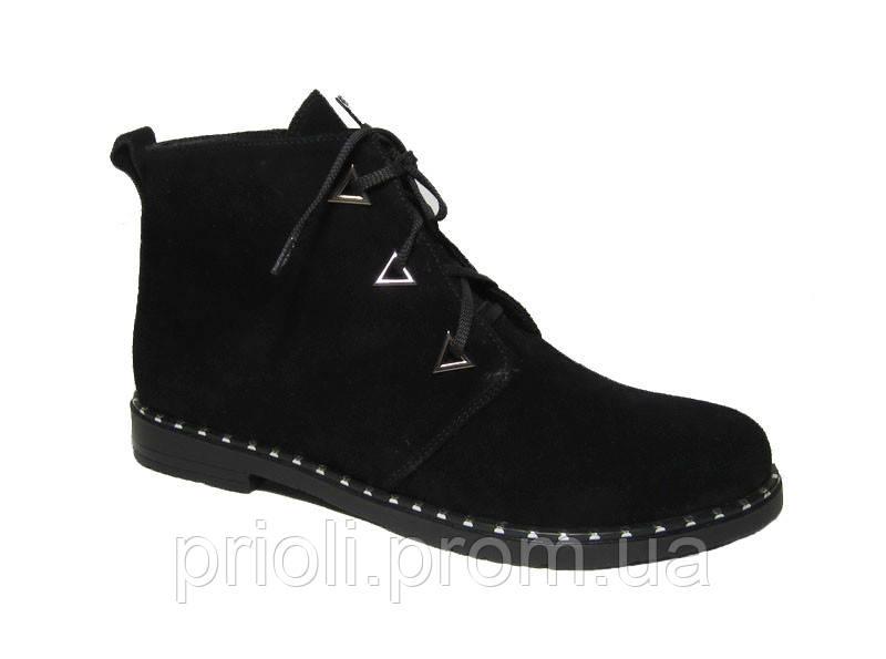 Женские осенние ботинки на байке замша