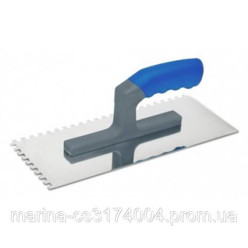 Гладилка 120х280мм зуб 8х8 мм  (08-043) сталева з нержавіючим покриттям,пластм.ручка,