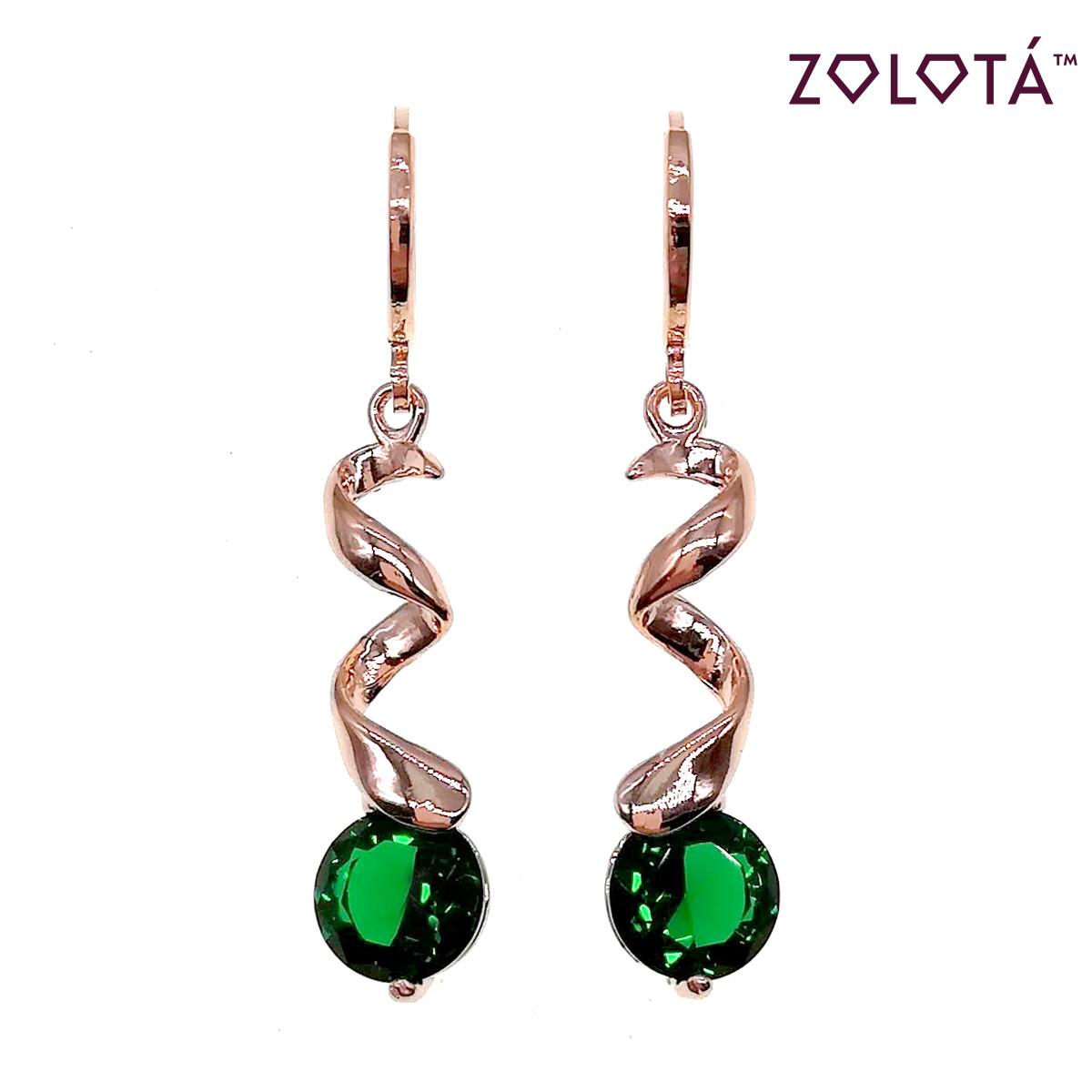 Серьги Zolota с зелеными фианитами (куб. цирконием), из медицинского золота, в позолоте, ЗЛ00647 (1)