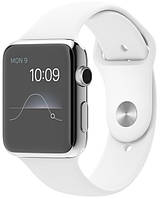 Умные часы Apple Watch Stainless steel 42mm case white sport band EU (1 мес. гарантии)