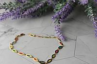 Золотой браслет на ногу 14К (585 проба ) с разноцветными вставками из Эмали