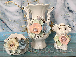Подарочный набор из мягкого фарфора ваза 18 см, сувенир мышка 10 см, кошелёк 7 см