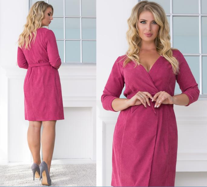 Женское вельветовое платье на запах .Размеры:48-54. +Цвета