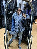 Джинсовая куртка с мехом чернобурки, фото 1