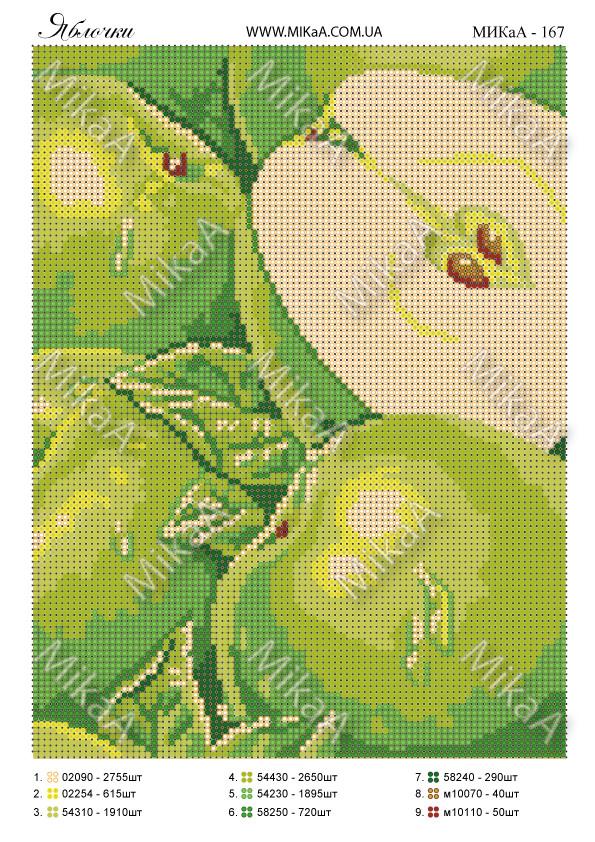"""Схема для полной зашивки бисером - """"Яблоки"""""""