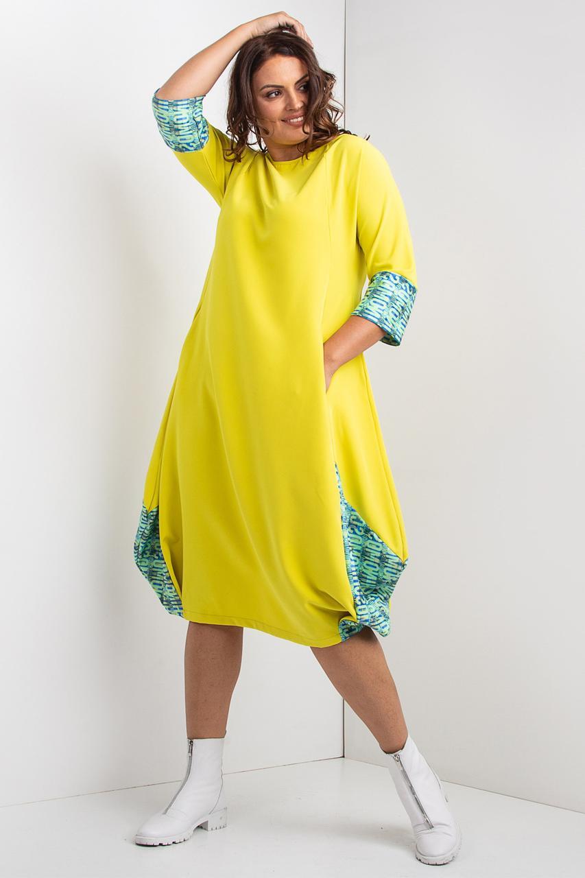 Желтое платье баллон KASIYA длинной миди с укороченными рукавами
