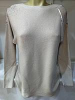 Свитер с ажурными плечами кашемировый женский полубатальный (ПОШТУЧНО), фото 1
