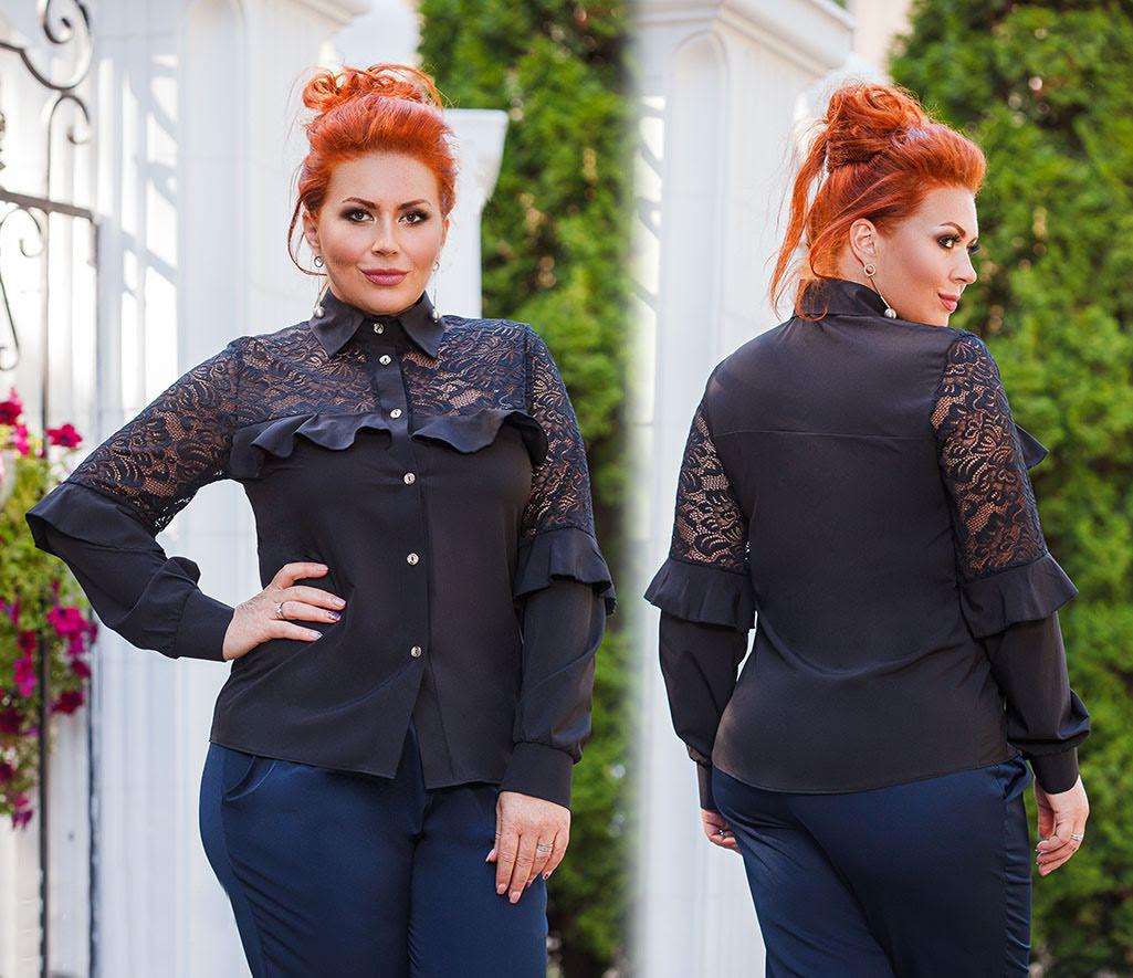 """Женская нарядная блуза в больших размерах 0459 """"Софт Рукава Кокетка Гипюр Рюши"""" в расцветках"""